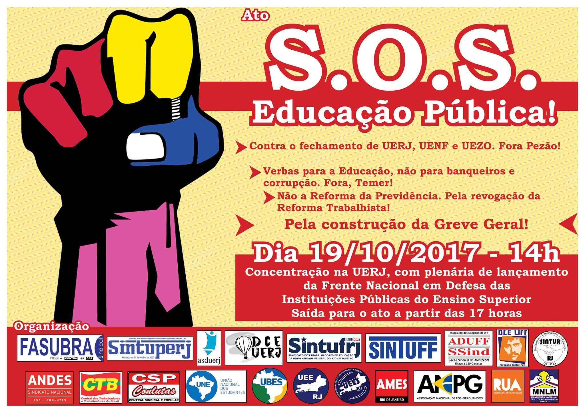 19 de Outubro é Dia Nacional em Defesa da Educação Pública