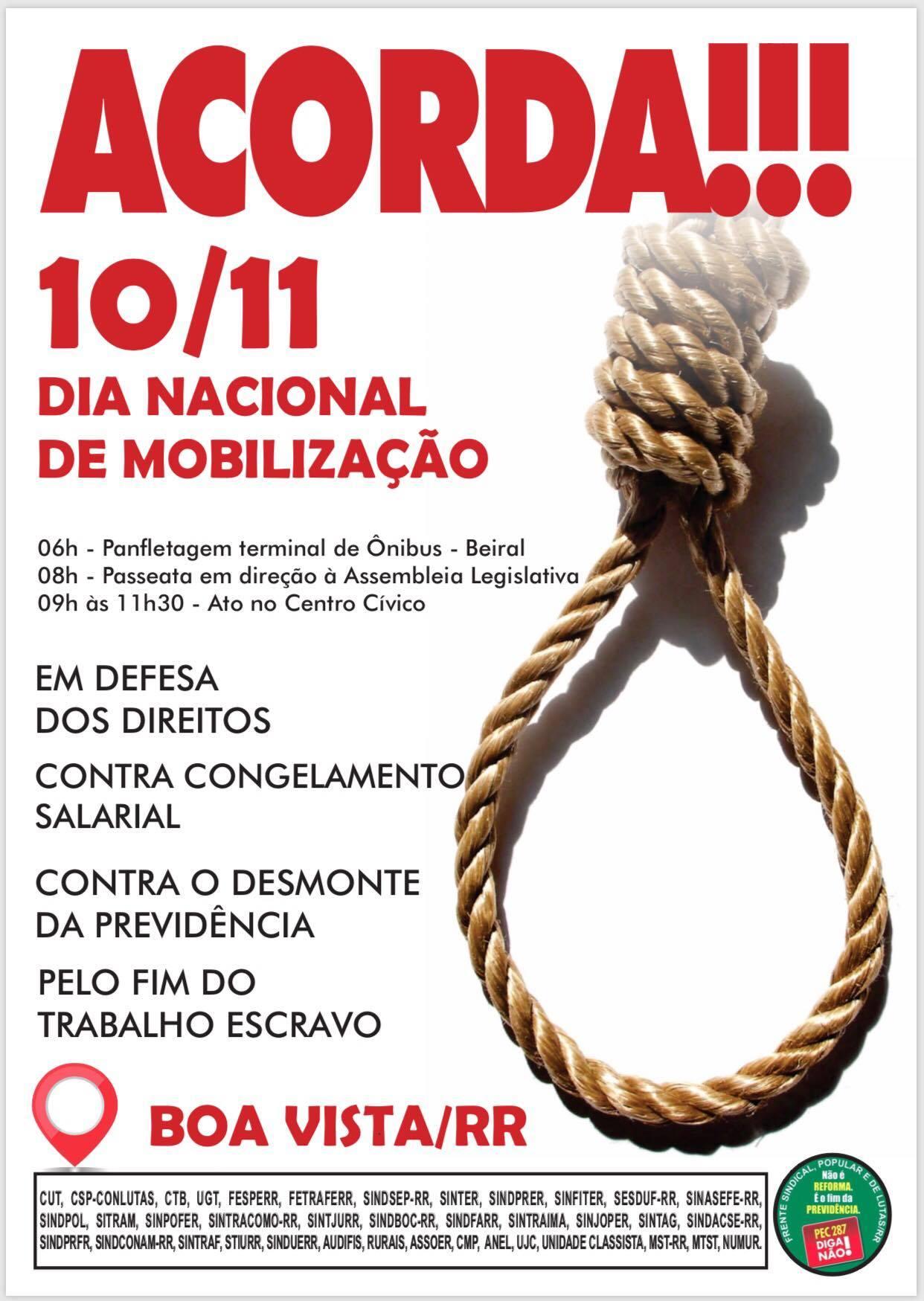 Mobilização em Boa Vista irá marcar o Dia Nacional de Lutas, Paralisação e Greves