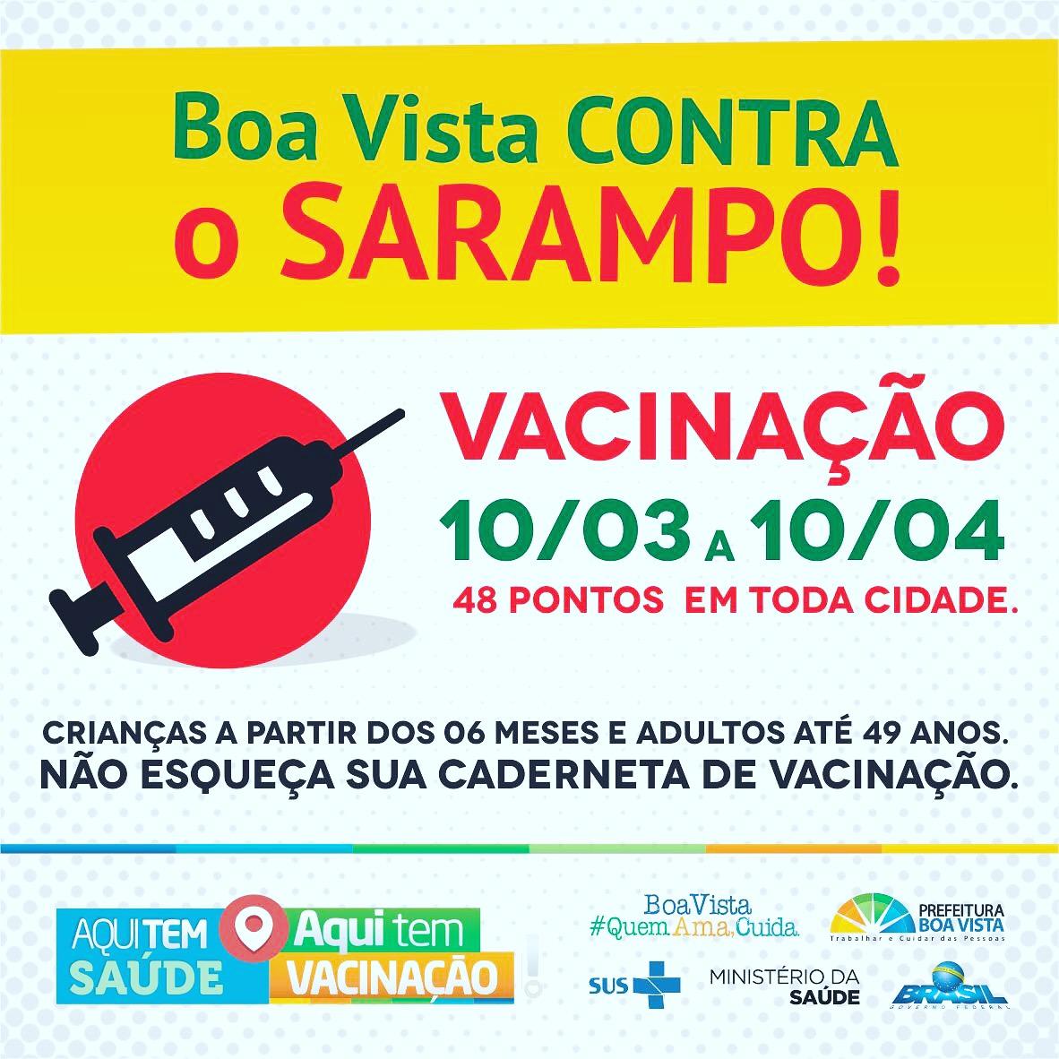 Prefeitura de Boa Vista lança campanha de vacinação contra sarampo