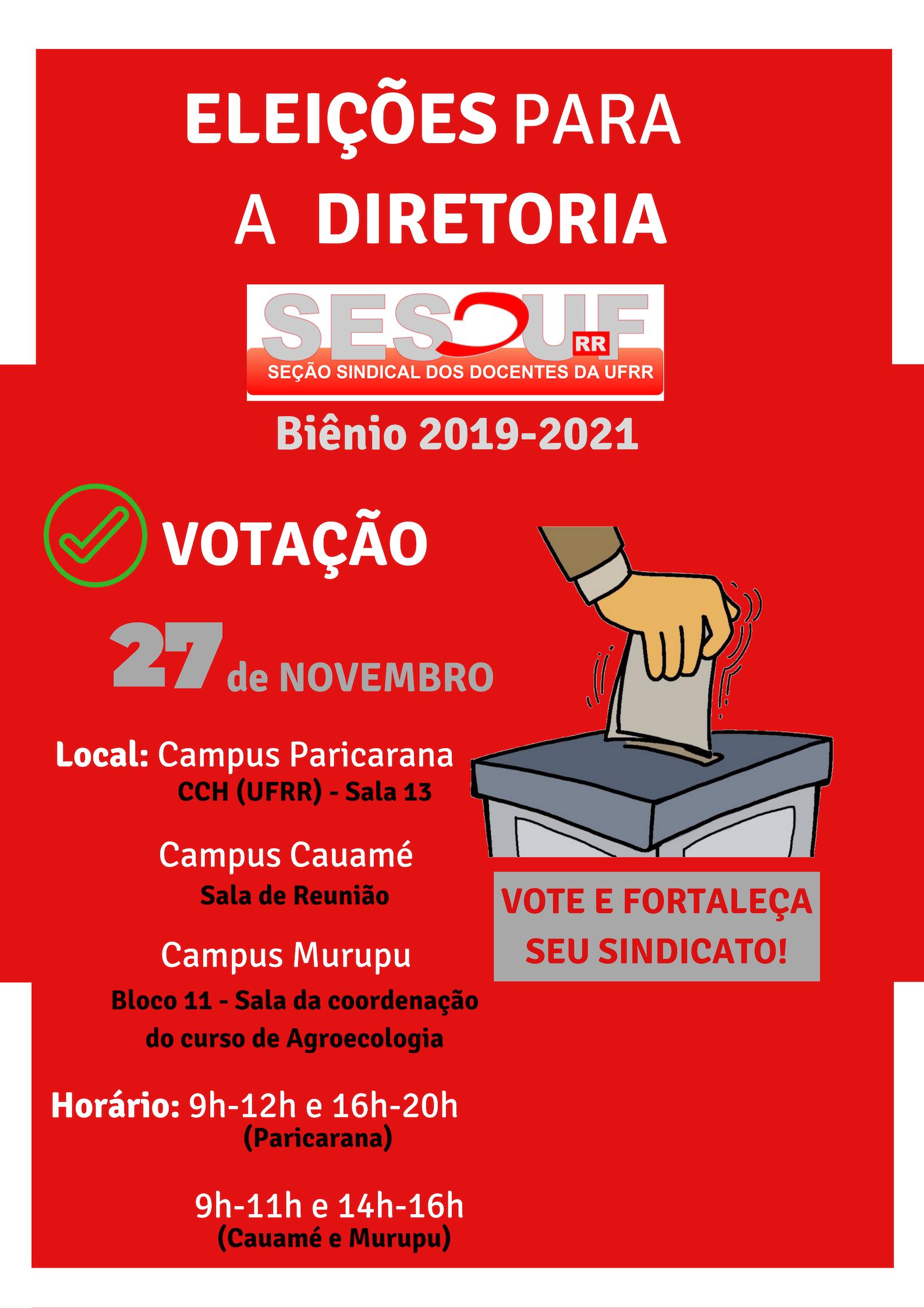 Eleições para Diretoria da SESDUF-RR ( Biênio 2019-2021)