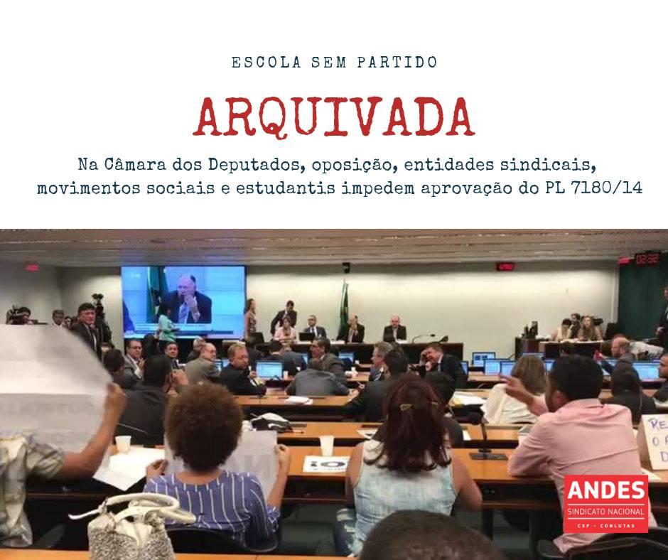 Projeto Escola Sem Partido é arquivado e só volta a ser debatido em 2019