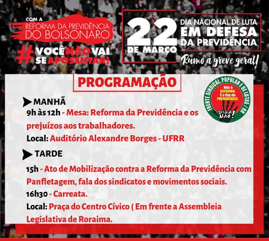 Frente Sindical promove ato contra a Reforma da Previdência nesta sexta-feira em Roraima