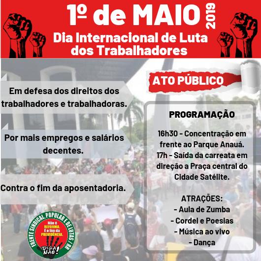 Frente Sindical, Popular de Luta em RR realiza ato público no 1º de Maio