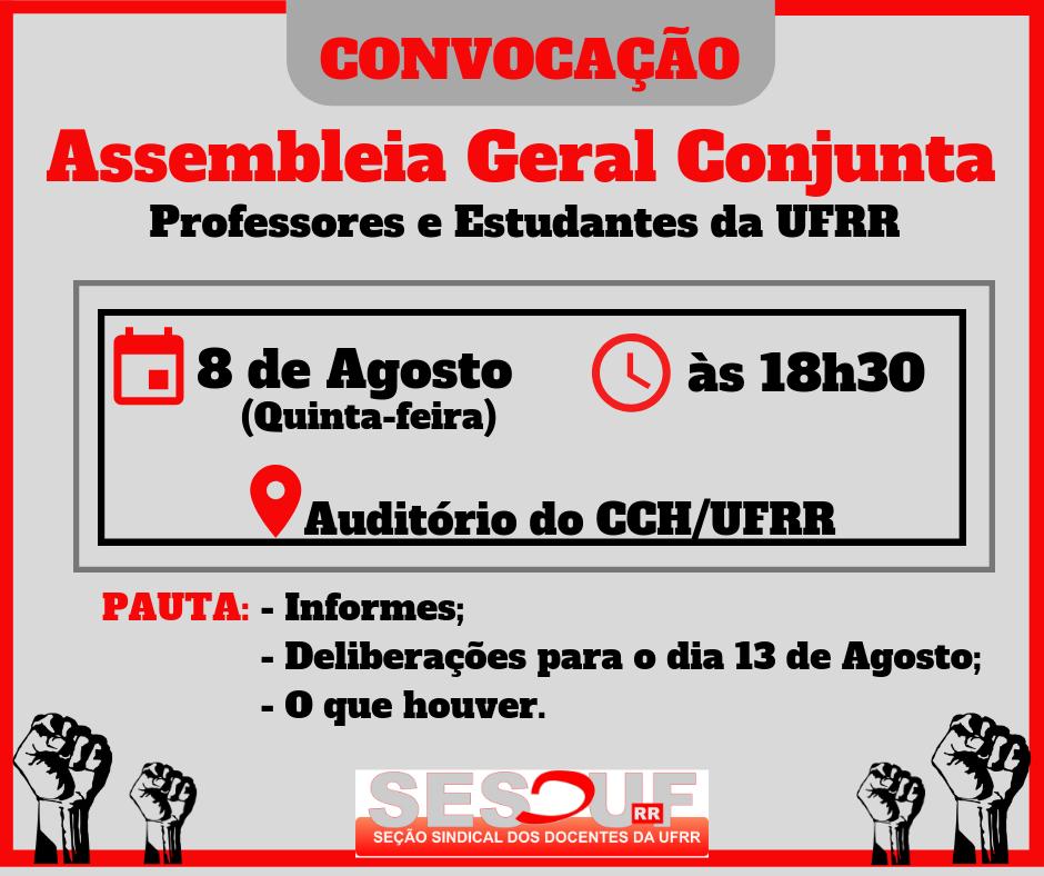 CONVOCAÇÃO - ASSEMBLEIA GERAL 08/08/2019