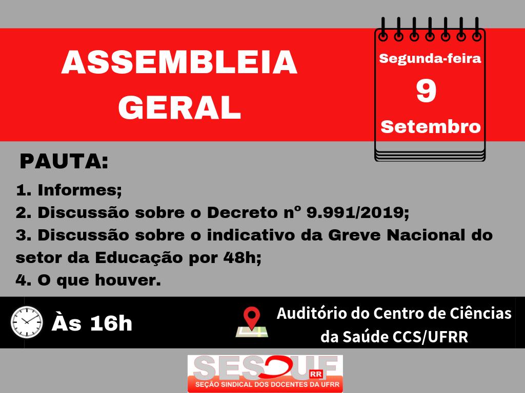 CONVOCAÇÃO - ASSEMBLEIA GERAL 09/09/2019