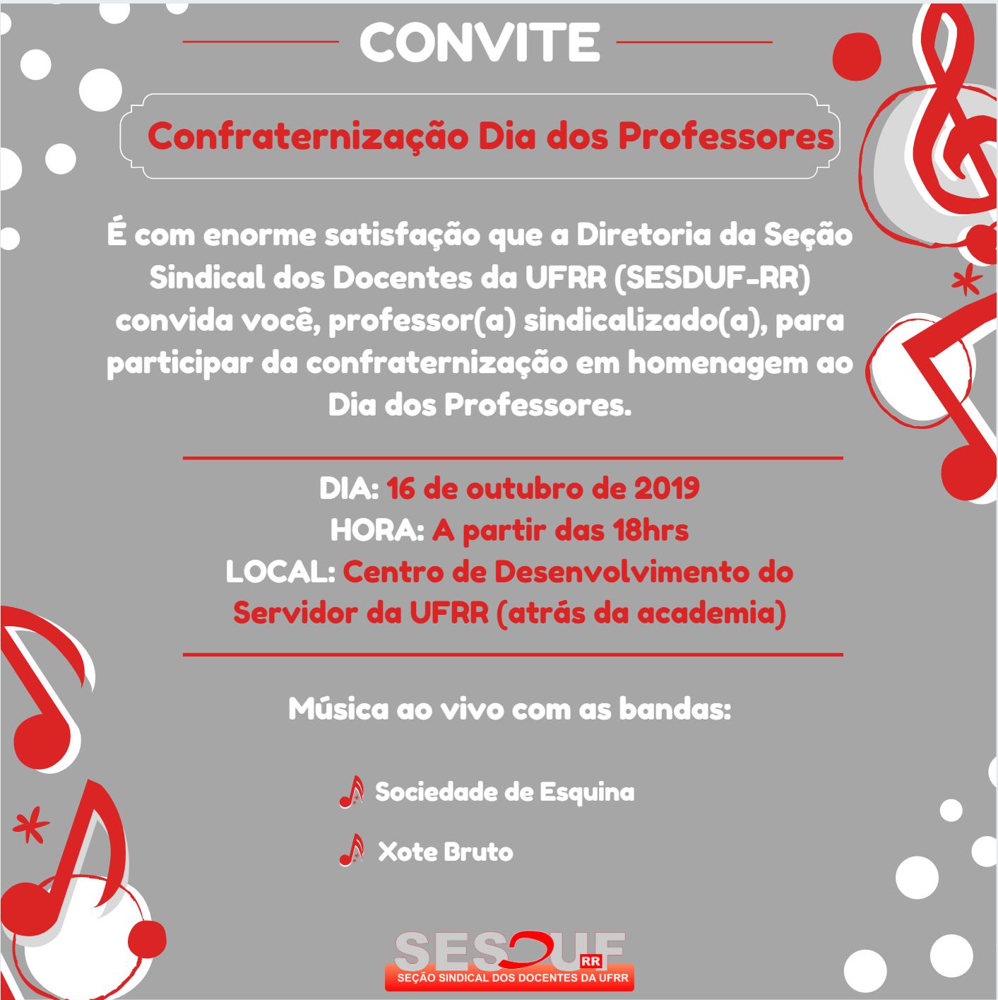 SESDUF-RR realizará Confraternização do Dia dos Professores