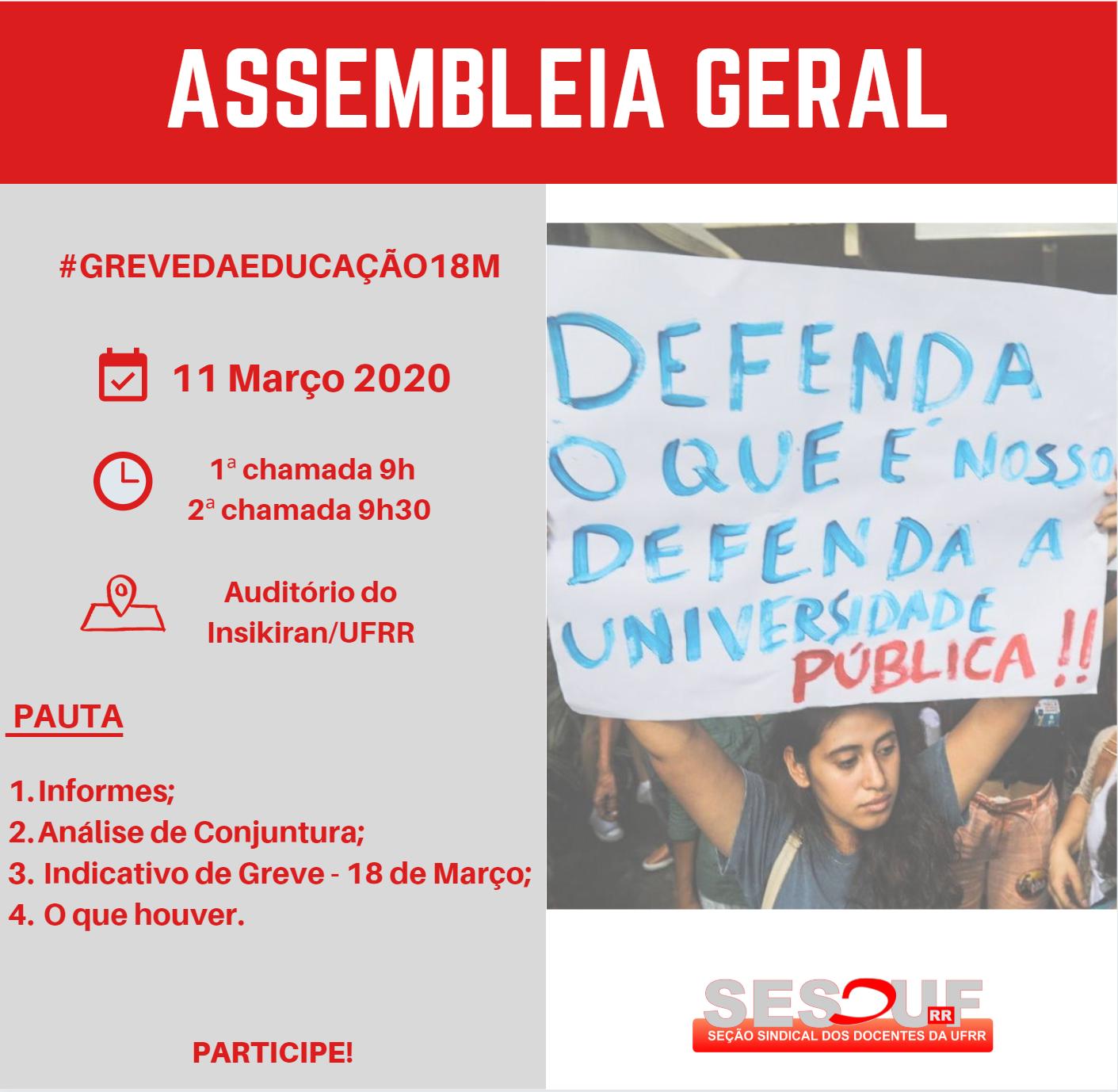 CONVOCAÇÃO - ASSEMBLEIA GERAL 11/03/2020