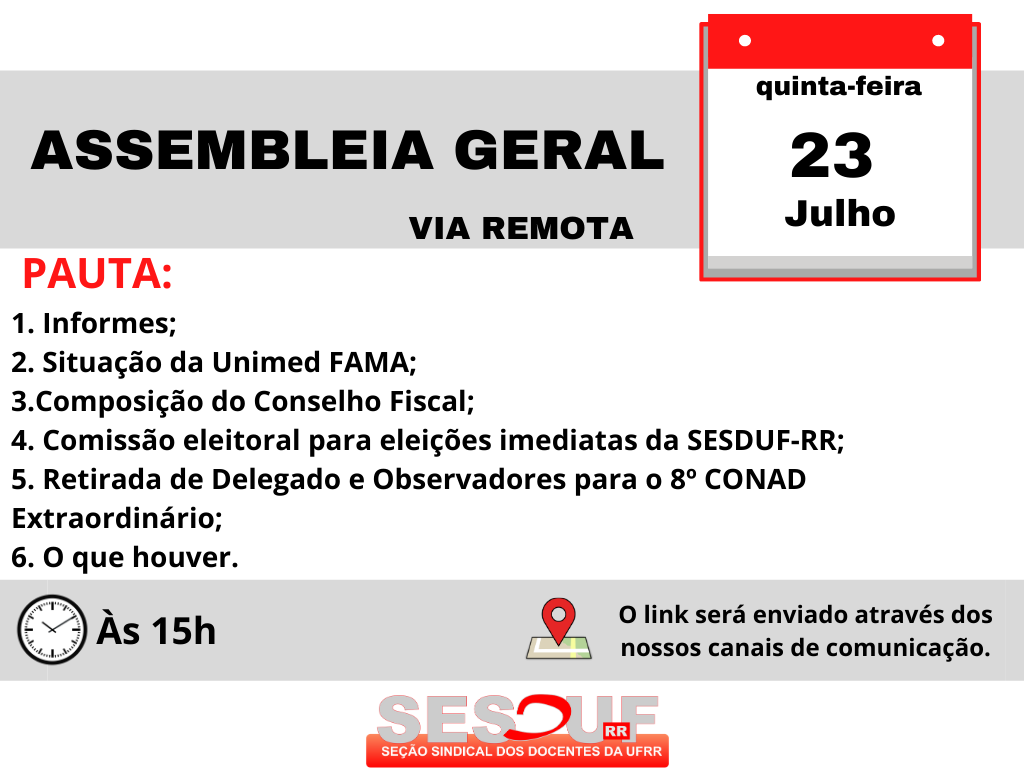 ASSEMBLEIA GERAL 23/07/2020