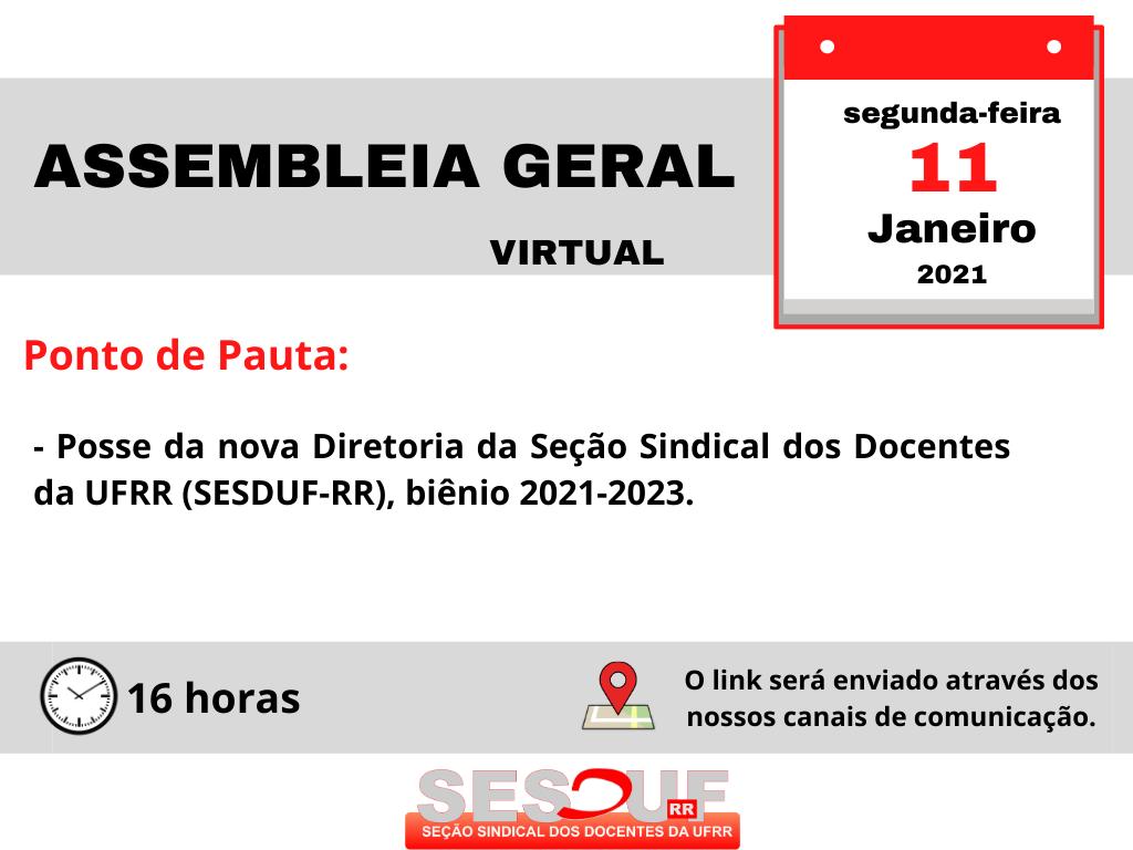 Assembleia Geral (virtual): Posse da Diretoria da SESDUF-RR (biênio 2021-2023)