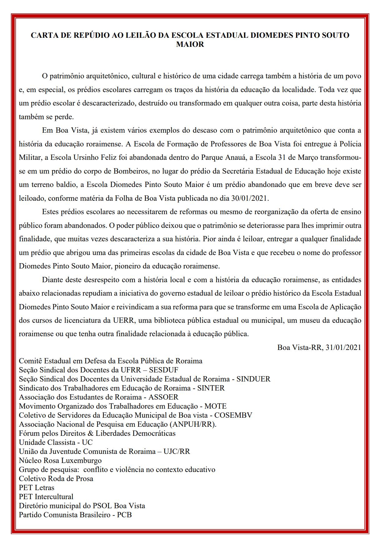 Movimentos Sociais e Sindicais lançam carta de repúdio ao leilão da Escola Estadual Diomedes