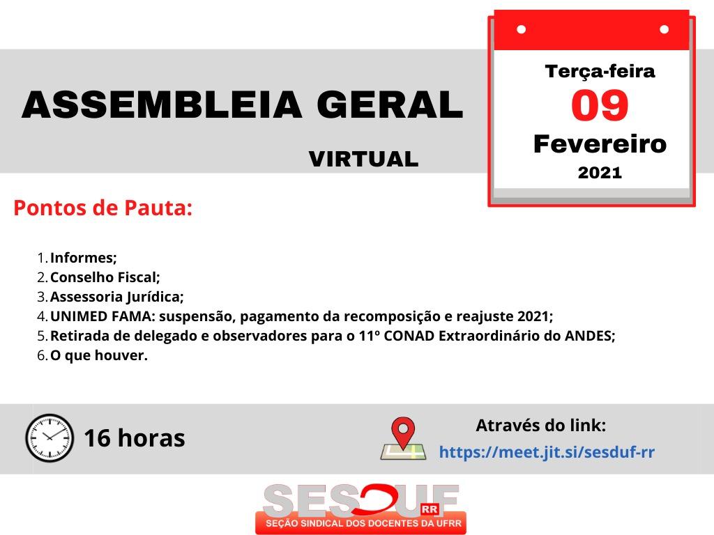 Convocação Assembleia Geral (virtual) 09/02/21
