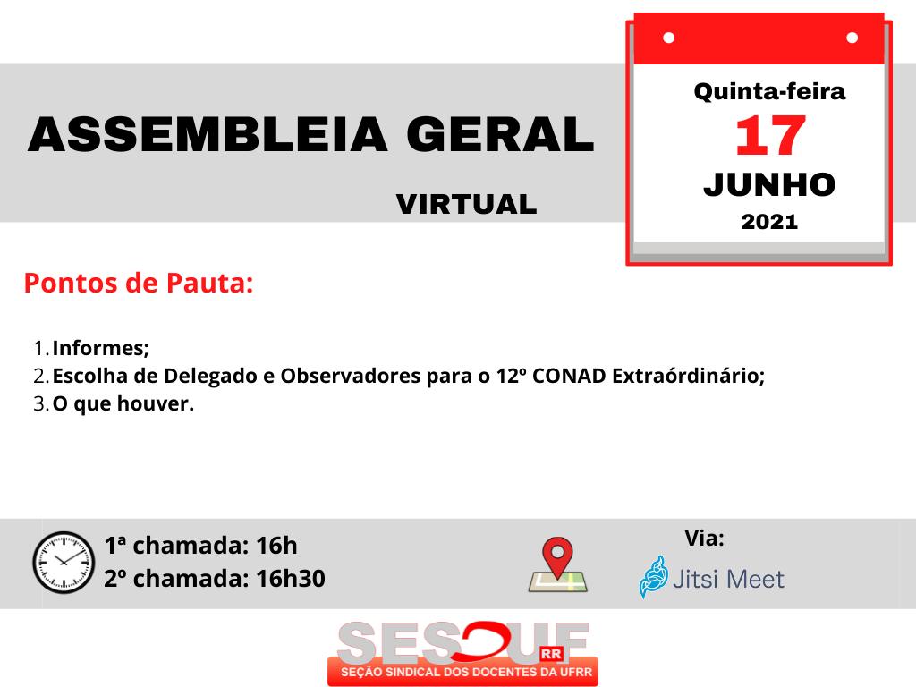 Convocação Assembleia Geral (virtual) 17/06/21