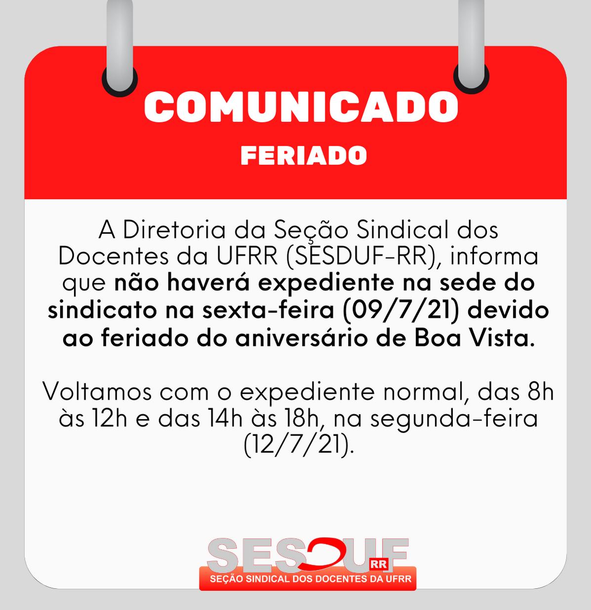 COMUNICADO: Feriado de aniversário de Boa Vista